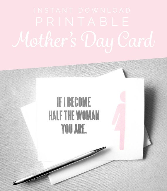 Printable Mothers Day Card Mom Birthday Card Mom From