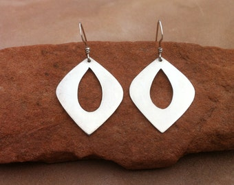 Large silver teardrop lotus petal earrings