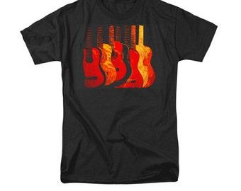 Red Guitars T-shirt, Music Instrument POP Art, Guitar Art, Uni-Sex Clothing, Fashion Design, Wearable Art, Band T-Shirt, Gift For Men Women