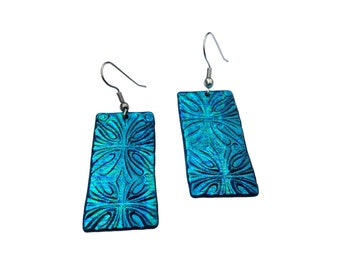 Turquoise Embossed Dangle Earrings, Hypoallergenic Earrings