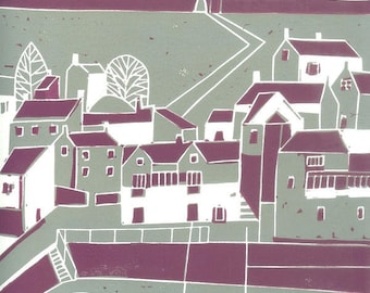 Whitby Seaside Village Linocut - Boats - English Seascape - Yorkshire Original Limited Edition of 25 - Sea - Seascape - Signed