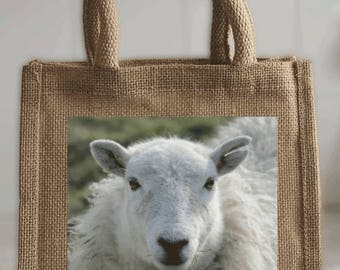 Small Tote Bag in jute - printed with sheep photo - ideal for books, lunch, shopping, crafts