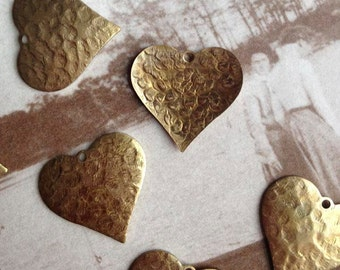 Hammered Hearts, Brass heart Findings, 10Pcs