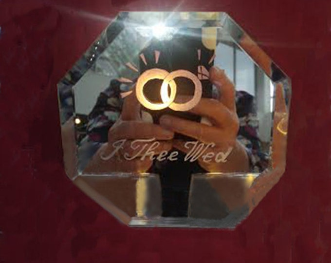 """Etched, handmade wedding mirror """"I Thee Wed"""""""