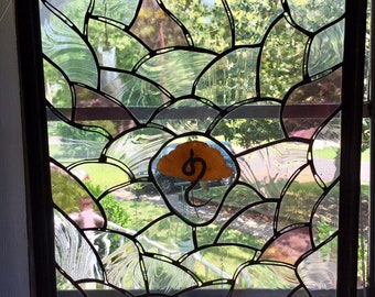 Stained Glass with Gingko Leaf and Snake