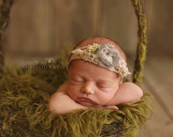 Newborn Vintage Tieback - Newborn Photo Prop, Vintage Headband, Baby Halo, Newborn Halo, Newborn Crown, Organic, Beige, Silver, Cream, Beads
