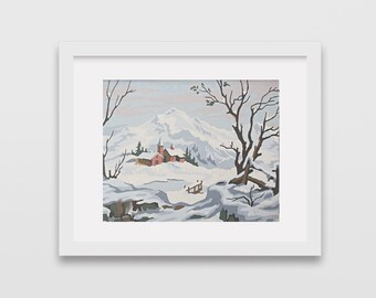 Vintage Paint by Number, snowy mountains, winter, snow, Print Your Own, Instant Art, Digital Download,