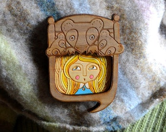 goldilocks and the three bears brooch