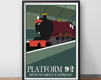 Harry Potter Platform 9 34 Hogwarts Express Train witchcraft and wizardry Poster Print Graphic Design Minimal Minimalist Alternative Retro