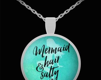 Mermaid Pendant Necklace, Mermaid Hair, Salty Air pendant