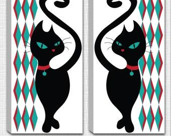 SET of 2 - Dimond Black Kitty - Mounted Canvas  Wall Art