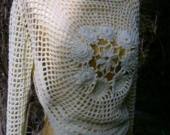Crochet sweater with flower motif, Gr. 36-38,(S-M), yellow