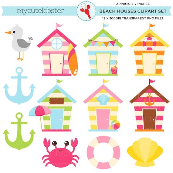 Cute Beach Houses Clipart Set beach huts anchor seagull