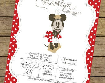 Vintage Minnie Invitation | Minnie Mouse Invite | Red Minnie Mouse Invitation | Minnie Mouse Party | Minnie Mouse Invitation
