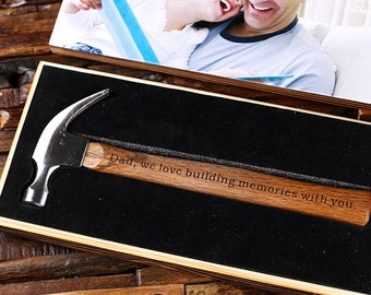 Engraved Personalized Hammer with Wood Box Customized Father of Bride Groomsmen Home Builder Construction Worker Gift, Father's Day Dad Gift