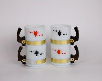 Siesta Ware Milk Glass Card Mugs with Wood Handles