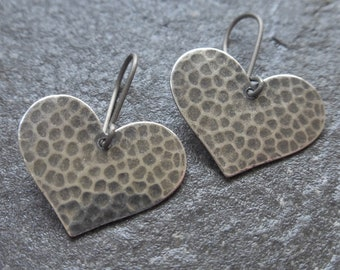 Antique Silver Hammered Heart Earrings With Hypoallergenic Titanium, Niobium OR 925 Sterling Silver Ear Wires - Boho Earrings - Hearts