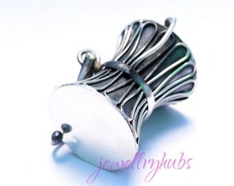 Damru Pendant, Pellet Drum Pendant, 925 Sterling Silver, Silver Damru Pendant, Shiva Damru, Shiva Symbol Damru,