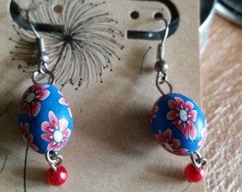 Earrings, Polymer Clay and Pearl