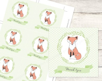 fox baby shower favor tags printable woodland DIY baby shower fox favour tags green grey gender neutral thank you cards - INSTANT DOWNLOAD
