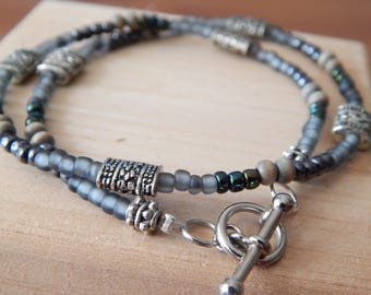 Gray Beaded Wrap Bracelet
