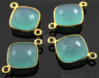 Aqua Chalcedony, Bezel Cushion Shape Gemstone Component, Gold Vermeil,,  13mm, 1 Piece, (BZC3030)