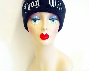 Thug Wife Embroidery Beanie Skull Cap Knit Hat