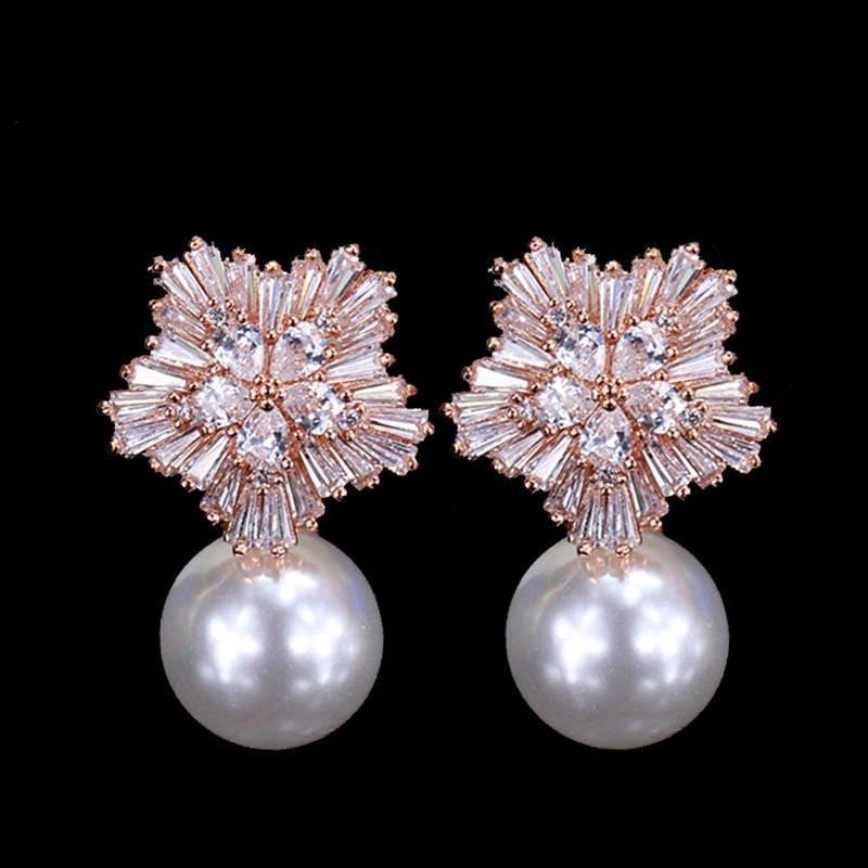 Rose Gold Pearl Bridal Earrings Vintage Style Cubic Zirconia