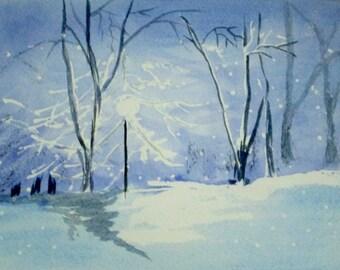 Watercolor Original Winter Landscape Monochrome Painting Christmas Original Art Greeting Card Fine Art Print