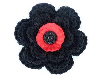 Crochet brooch. Medium crochet poppy brooch. Mother's day gift, birthday gift, brooch pin,  flower corsage, Christmas gift, stocking stuffer