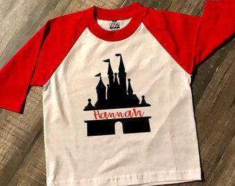 Personalized Disney Raglan Baseball T-Shirt *Disney Castle