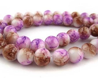 20 Glass Round Beads Purple, White, Brown 10mm - 40P