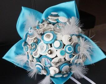 Bridal button bouquet original Butterfly