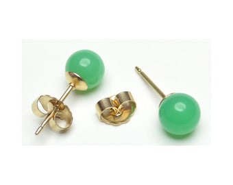 Natural Chrysoprase Earrings, Bright green Chrysoprase bead studs, green stud earring, Top quality stones, Gold-filled, handmade in New York