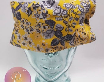 Lavender & Chamomile Aromatherapy Sleep Mask Dream Eye Pillow with Elastic Strap and Washable Cover - Lemon Chrome Floral