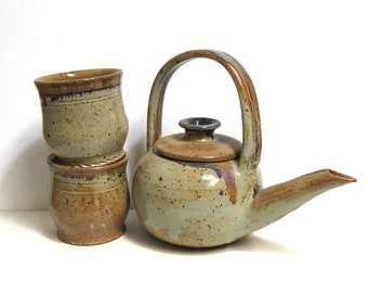 Stoneware Teapot and 2 Cups/ Earthy Neutrals/ Japanese Style Studio Pottery Teapot Set
