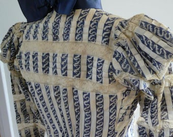 Bodice around 1900, blue and white stripes