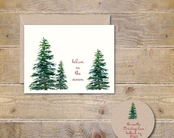 Christmas Cards, Holiday Cards, Christmas Card Set, Winter Hats, Clothesline, Handmade, Holiday Greetings
