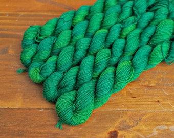 Frog Legs, Mini Skein, Hand Dyed Yarn, SW Sock