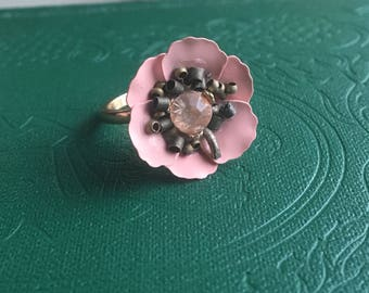 Polymer Clay Pink Flower Ring, Peony Ring, Clay Rose Ring, Cherry Blossom Ring, Clay Flower Ring, Cute Small Flower Ring, Pink & Brass Ring
