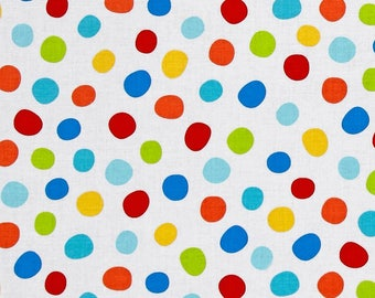 Swingin' Safari White/Multi Dot Fabric by Diane Eichler  for Henry Glass Fabrics #3695-18