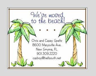 Beach Tropical Moving Announcement  // Change of Address // Palm Tree Moving Cards // Home Sweet Home