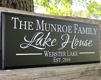 Personalized Lake House Sign Lake House Decor Wood Lake Sign Cabin  Signs Cabin