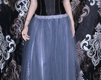Formal Silver Colored Bridal Bride Bridesmaid Floor Length Tulle Skirt Adult All Sizes MTcoffinz