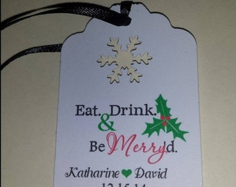 Christmas Wedding Favor Tags Eat Drink Be Merry d Thank You Personalized