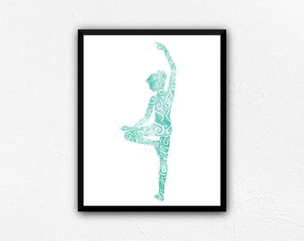 Yoga Art Print, Tree Pose Yoga Art, Instant Download Printable Art, yoga print, yoga studio decor