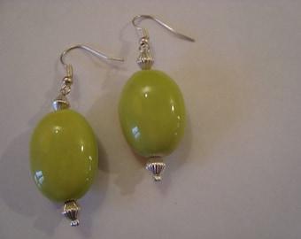 Green Tube earrings