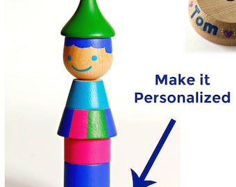 Personalized Wooden Toy, Stacking game, Medium Stacking Doll (SAMBA), Skills Developer, Wood Toy, Ring Stacker