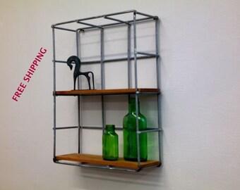 Decor Shelf//Shelving//Shelves//Wire//Wood//Industrial//Geometric//Modern//Wire shelving//Geometric shelving//Industrial shelving