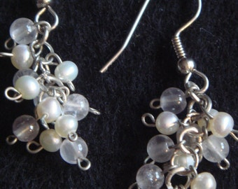 Freshwater Pearls and Rose Quartz Cluster Earrings-Lucy